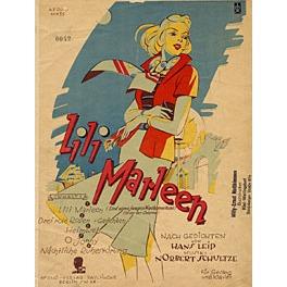 Dibujo de los años 40 de mujer rubia como