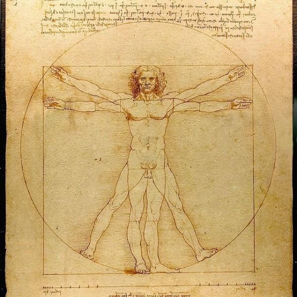 El Hombre de Vitruvio, famoso dibujo acompañado de notas anatómicas de Leonardo da Vinci realizado alrededor del año 1490 en uno de sus diarios.