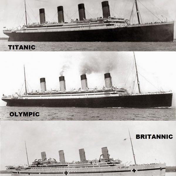 El Titanic junto a sus dos hermanos gemelos Olympic y Gigantic.