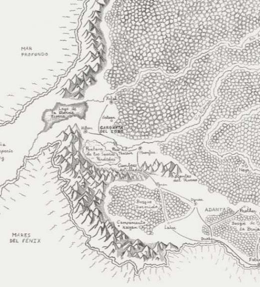 Mapa de Aekhan, correspondiente a la novela de fantasía épica Legado de Sombras (El Forjador de Crónicas)