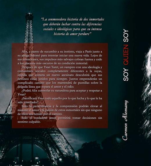 contraportada con imagen de la torre Eiffel y sinopsis de soy quien soy