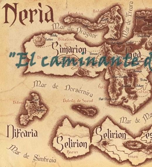 Mapa de Neria tierra donde se desarrolla la aventura de El caminante de arena