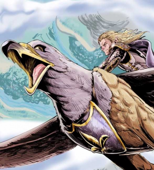 El elfo Ralán montado sobre su grifo Lottho. Protagonista de la saga Anheron.
