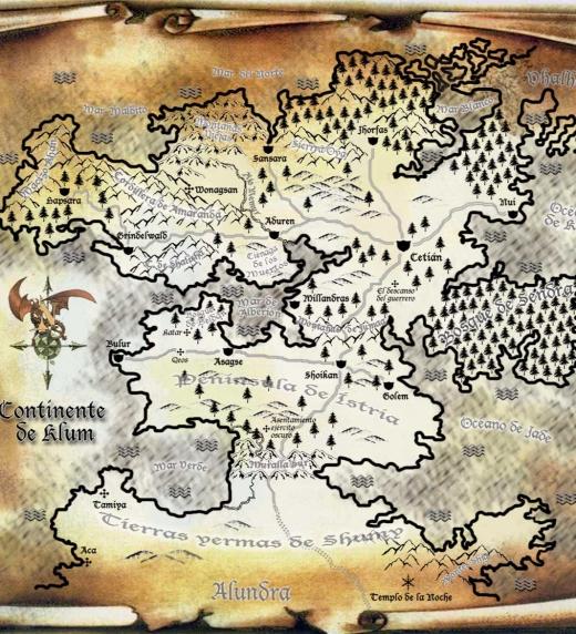 Mapa del continente de Klum, del mundo de Anheron.