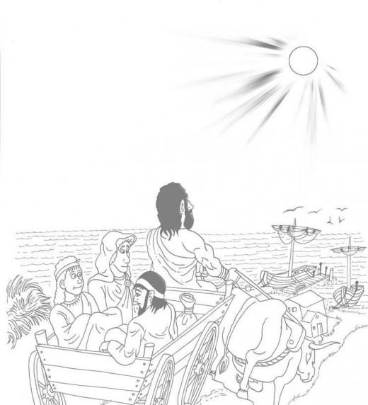 El grupo de amigos viaja en carretas tiradas por bueyes hacia el puerto donde los espera su barco a destino de Alejandría, Egipto.