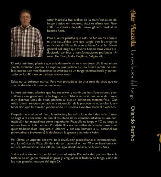 """Contrapa del libro """"Astor Piazzolla, La revolución del tango"""" Sinopsis del libro"""