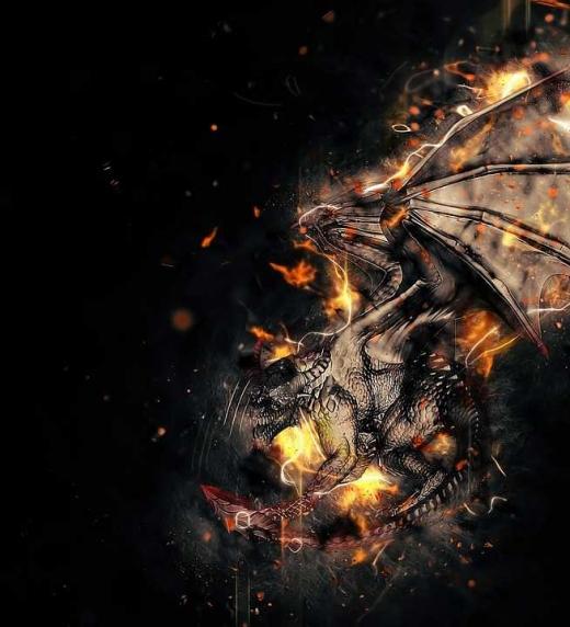 Dragón en combate mientras vuela por los aires
