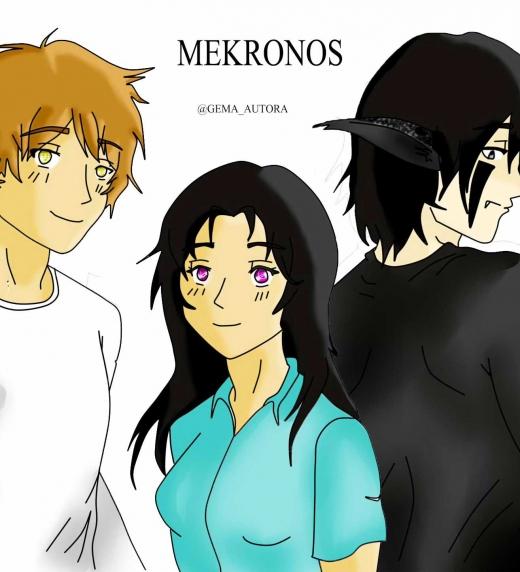 Lázaro, Esmeralda y Mekronos (humano) personajes de la novela