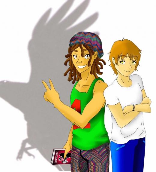 Cliver y Lázaro, personajes de la novela Mekronos de Gema López Sánchez.