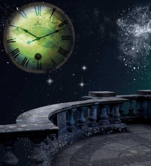 """Imagen de reloj y espacio, referente al poema """"Tiempo Indeciso"""" del libro """"Cautivo""""."""