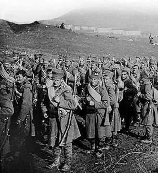 Tropas serbias en el frente durante las guerras balcánicas 1911 - 1912
