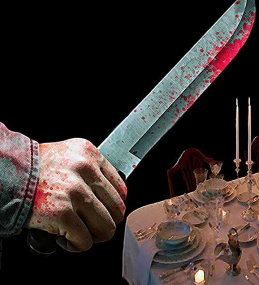 El cuchillo del misterioso asesino del libro de terror el que esté libre de pecado