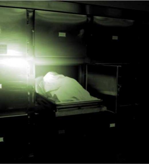 Cadáver sobre bandeja del depósito de cadáveres
