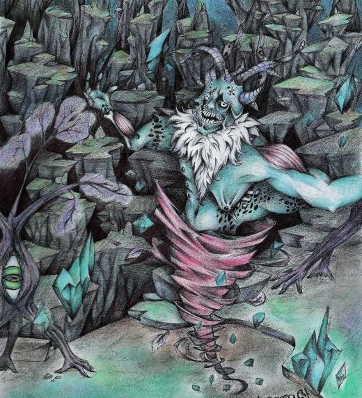 Sklogw, antagonista principal en la novela y representación física del caos. Imagen incluida en equilibrista universal.