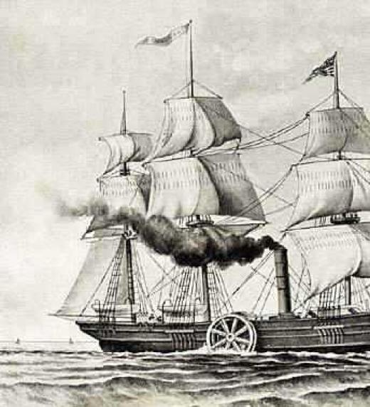 Barco de vapor del siglo XIX, ejemplo de los grandes avances de la Revolución Industrial.