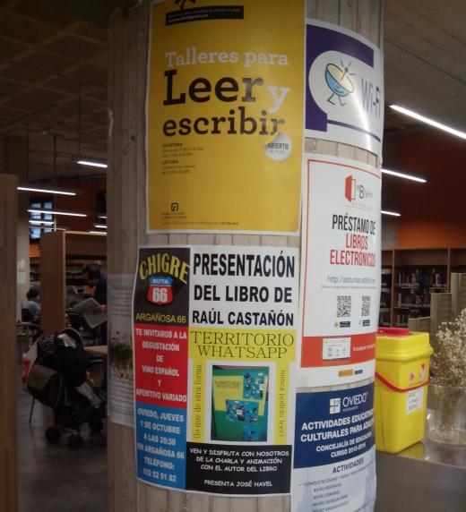Anuncio de la presentación del libro en la Biblioteca de Asturias.