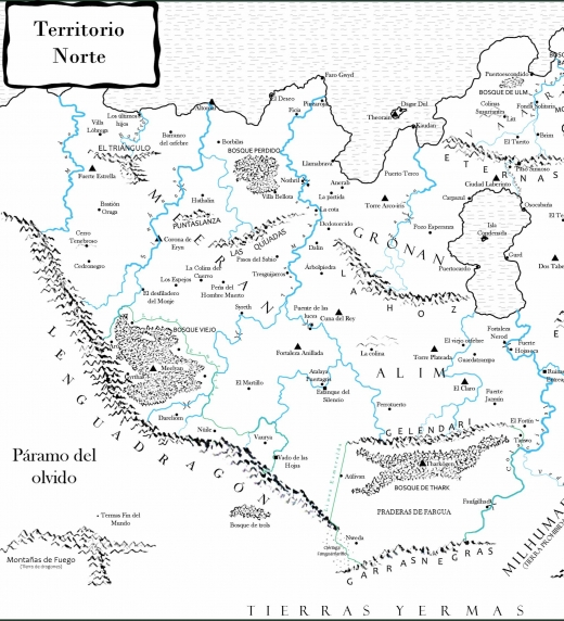 Mapa de las tierras del norte de Avalon , tierras pertenecientes a los cinco reinos de los hombres y a los dos reinos Verdes.