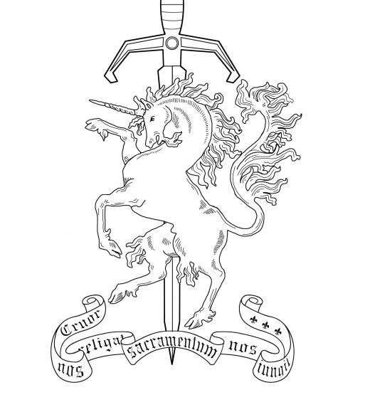 """Heráldica perteneciente a la Hermandad del Cuerno Dorado, una hermandad con siglos de historia que aparece en el libro """"El Reino Olvidado-Los dos mundos"""""""