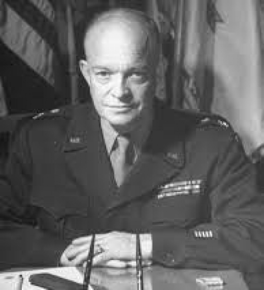 Dwight David Eisenhower (1890 - 1969) was President of the United States from 1953 to 1961. He was previously a career soldier, a five-star general of the United States Army, Supreme Commander of the Allied Forces of World War II from 1944 to 1945.ht