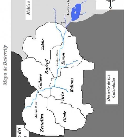 Mapa de La capital del crimen, Bakercity, donde se pueden ver sus barrios y el río, así como los límites de la ciudad.