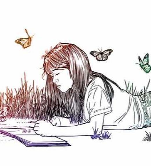 Pamela escribe el Tomo III de la novela Orbis.