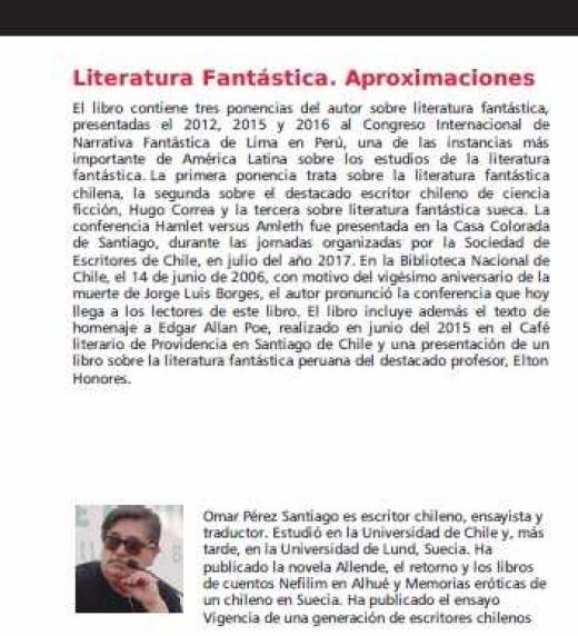 Contraportada del libro Literatura Fantástica del escritor chileno Omar Pérez Santiago
