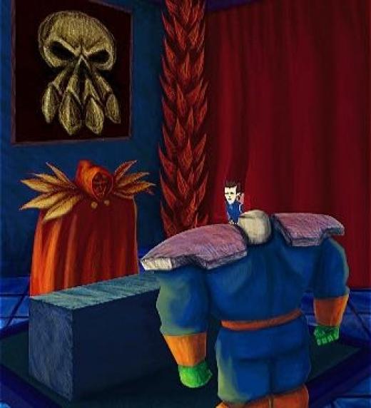 La alarma a sonado. ¿Qué sucede? Se han atrapado dos intrusos en los sótanos. ¡Traedlos a mi presencia!