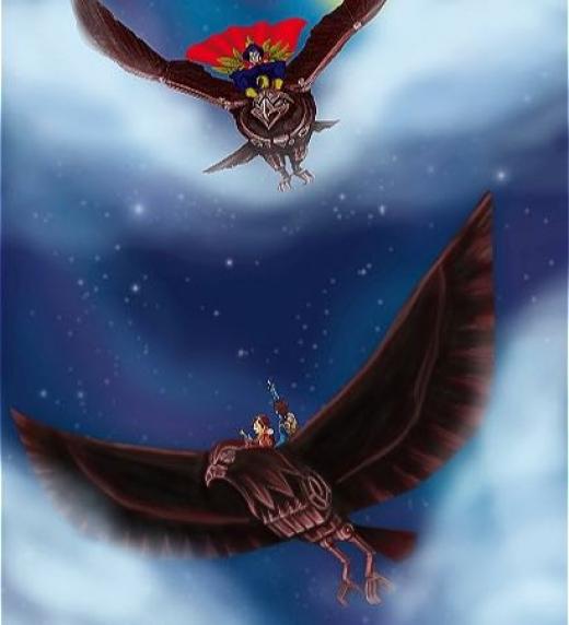 La batalla se da en el cielo, las águilas y sus ocupantes luchan por sus vidas. Se acerca el amanecer.