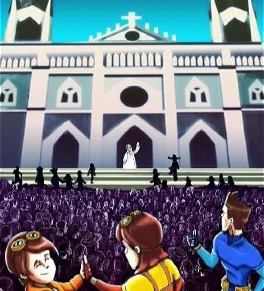 La misión se ha cumplido y Pepito, Pelota y Pelotilla se despiden de monseñor Chepe en Santa Ana todo vuelve a los normal, al cierre de las fiestas patronales.