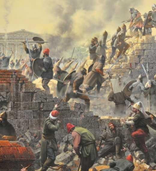 Combates en la brecha del muro de Constantinopla