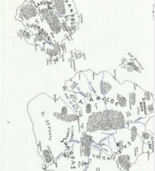 Mapa a mano de los continentes de Veranion, controlado por el Imperio de Sharpast y Lindium, donde se encuentran los Reinos de Occidente.