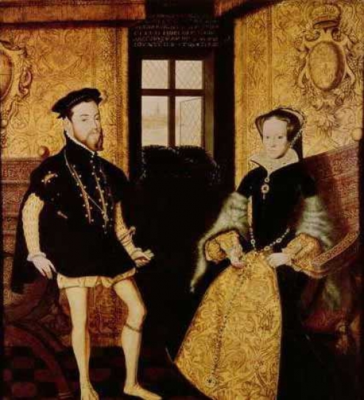 Felipe II junto a su segunda esposa, María I Tudor. Reyes de Inglaterra