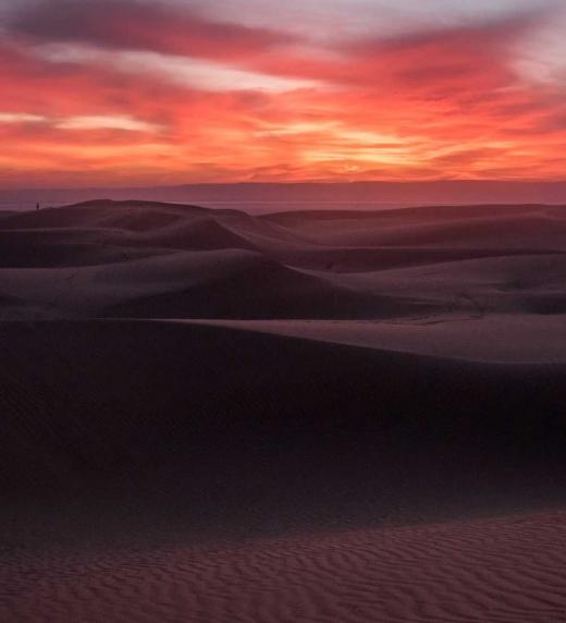 Puesta de sol en el desierto del Sahara
