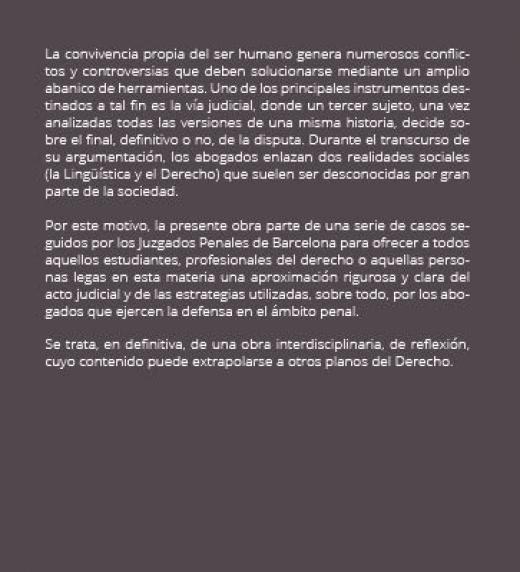 """Descripción detallada de """"Lingüística procesal: estrategias discursivas en los juicios españoles"""""""