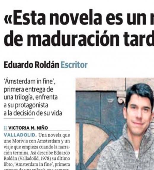 Eduardo Roldán en diario El Norte de Castilla. Abril, 2018