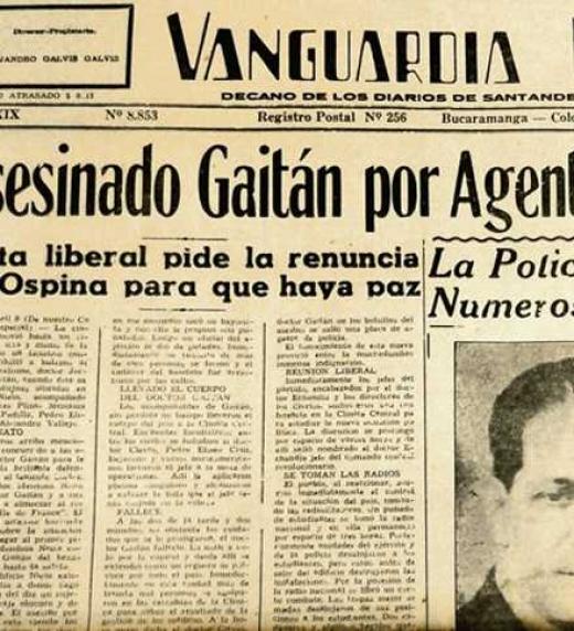 Titular de la muerte de Gaitán en el diario Vaguardia liberal, el sábado 9 de abril de 1948
