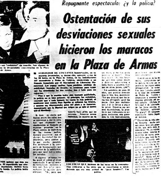 """Titular en diario chileno durante la época de dictadura. """"Repugnante espectáculo: ¿y la policía?"""" Denota el fuerte rechazo hacia la comunidad LGBT"""