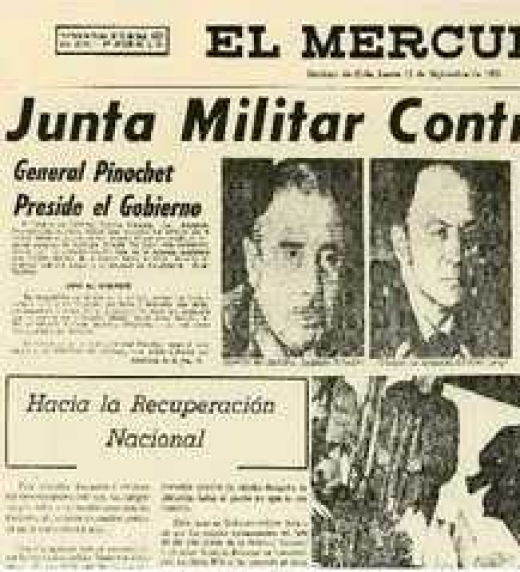 Titular del diario de derechas que da la bienvenida a la Junta Militar de gobernará Chile durante 1973 hasta 1990.