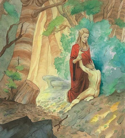 Rhija levantando al protagonista de Casiopea después de despertar con amnesia en un lugar desconocido en Nueva Tierra.