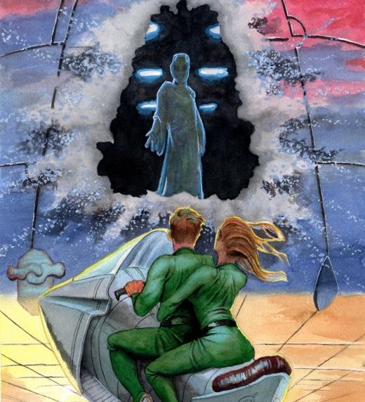 Aparición de un alienígena ante los protagonistas de la novela de ciencia ficción Casiopea