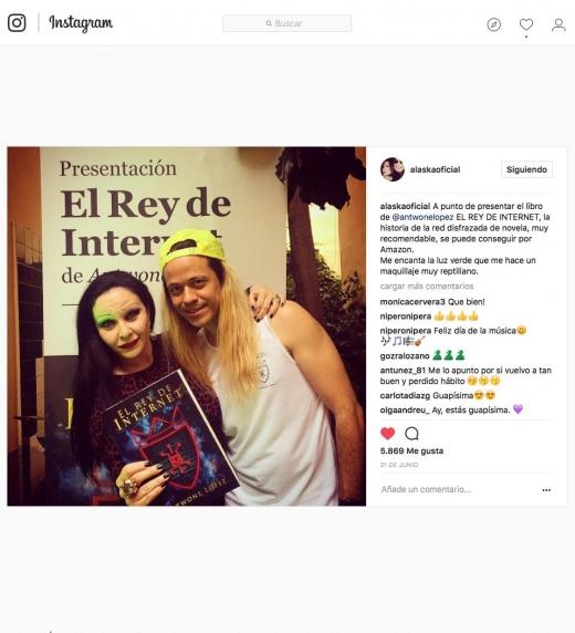 Post de Alaska, madrina oficial, el dia de la presentación secreta de El Rey de Internet en Madrid.