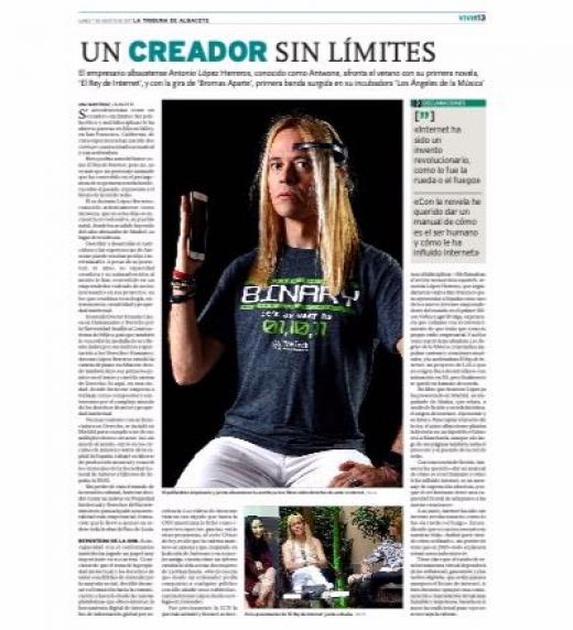 Entrevista a Antwone Lopez hablando sobre El Rey de Internet en La Tribuna de Albacete, cuyo titular es: Un Creador Sin Límites.