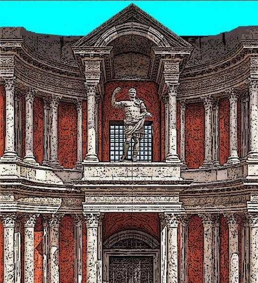 Estatua y columnas romanas