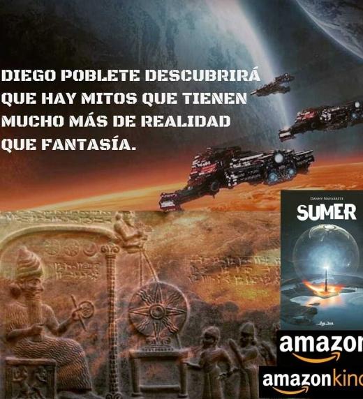 Afiche promocional de la novela de ciencia ficción Sumer.