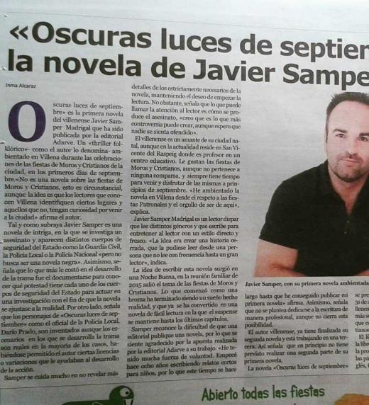 Nota de prensa en el periódico Portada de Villena. Agosto de 2018.