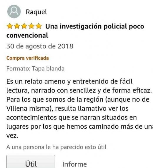 Opinión de una lectora en la plataforma Amazon