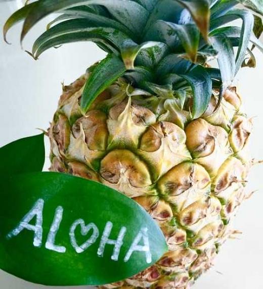 Símbolos de Hawai (donde se ambienta la novela): la Piña y la palabra Aloha.