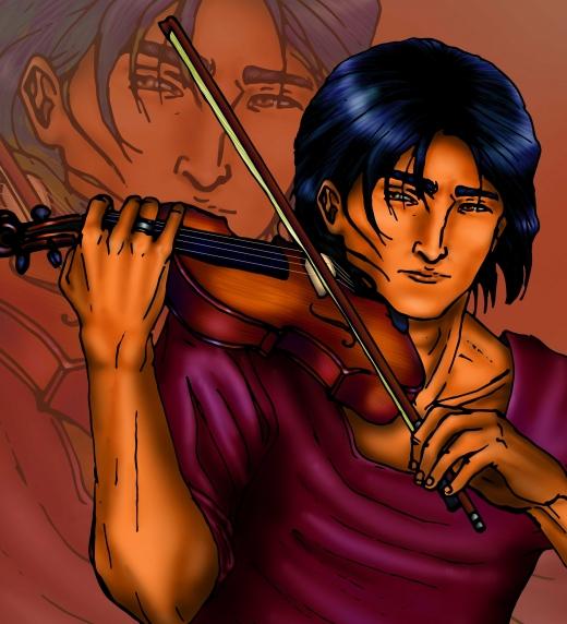 Dante, personaje principal, tocando el violín.
