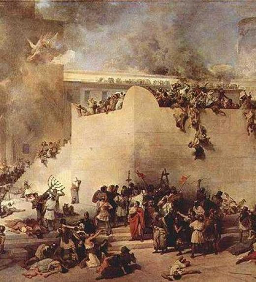 Representación del asedio y destrucción de Jerusalén por el Imperio Romano