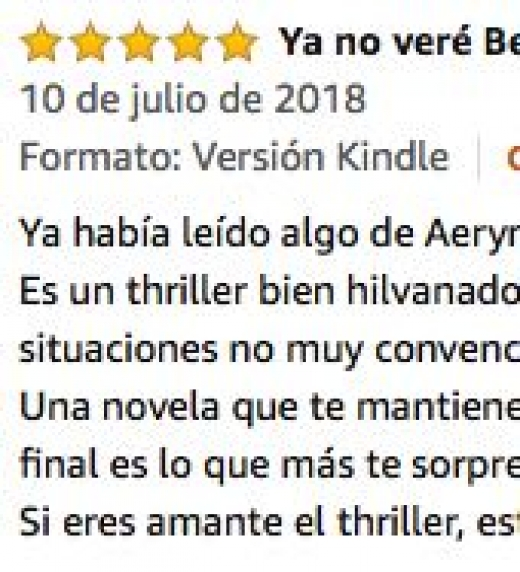 Comentario cliente de Amazon.